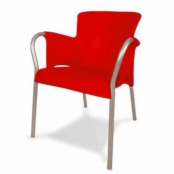 Poltrona Talísia 1075 com pernas em Alumínio Vermelha Confplast