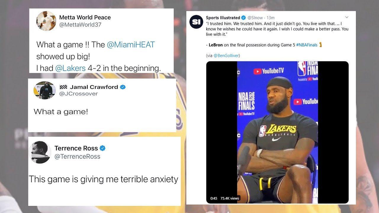 Nba Players React To Los Angeles Lakers Vs Miami Heat Game 5 Nba Finals In 2020 Miami Heat Game Heat Game Nba Players