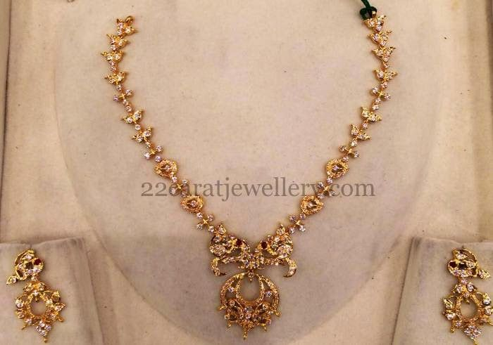 28gms Simple Gold CZ Set Gold Indian jewelry and Indian bridal