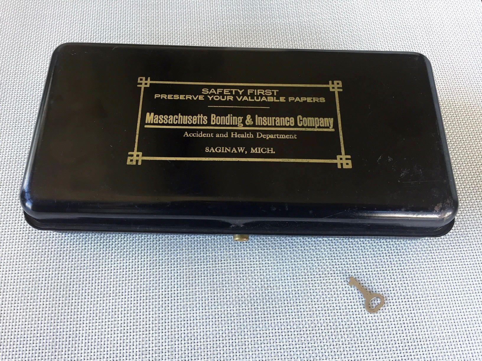 Vintage Metal Strong Box Metal Box Lock Massachusetts Bonding