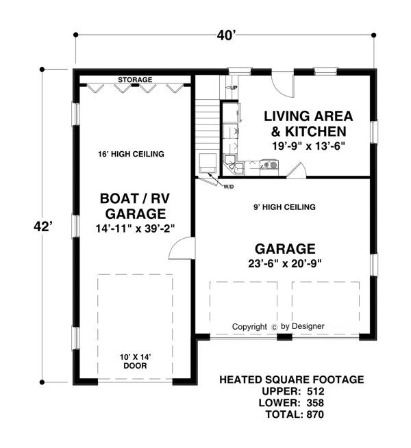 Rv Garage Plan With Living Quarters: Lower Level Floorplan Image Of Boat-RV Garage …