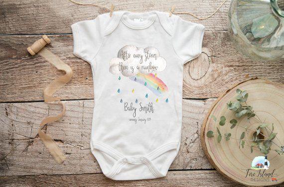 723312839 Rainbow Baby Customized Onesie, Baby announcement, Rainbow Baby, Personalized  Baby Onesie, Baby Shower Onesie, Newborn Birth Announcement