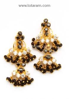 22k Gold Drop Earrings With Cz Black Beads Ger6138 A List Price Of 345 99 Indian Jewelry From Totaram Jewelers