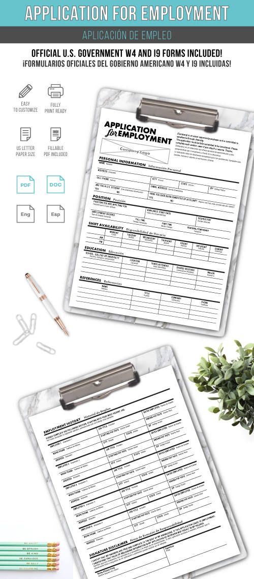 Job Application Template Hr Paperwork And Tools  Etsy Shop