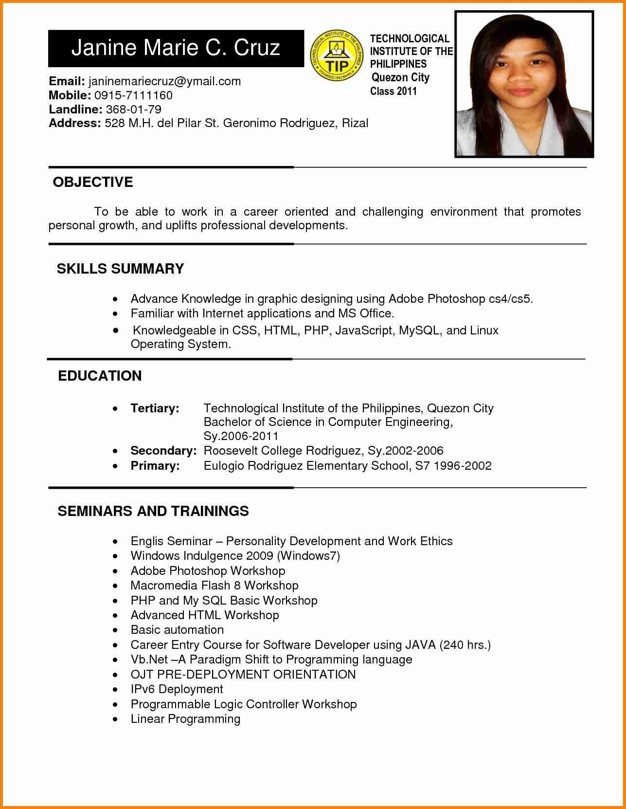 Resume Sample Format In Philippines Valid 6 Example Of