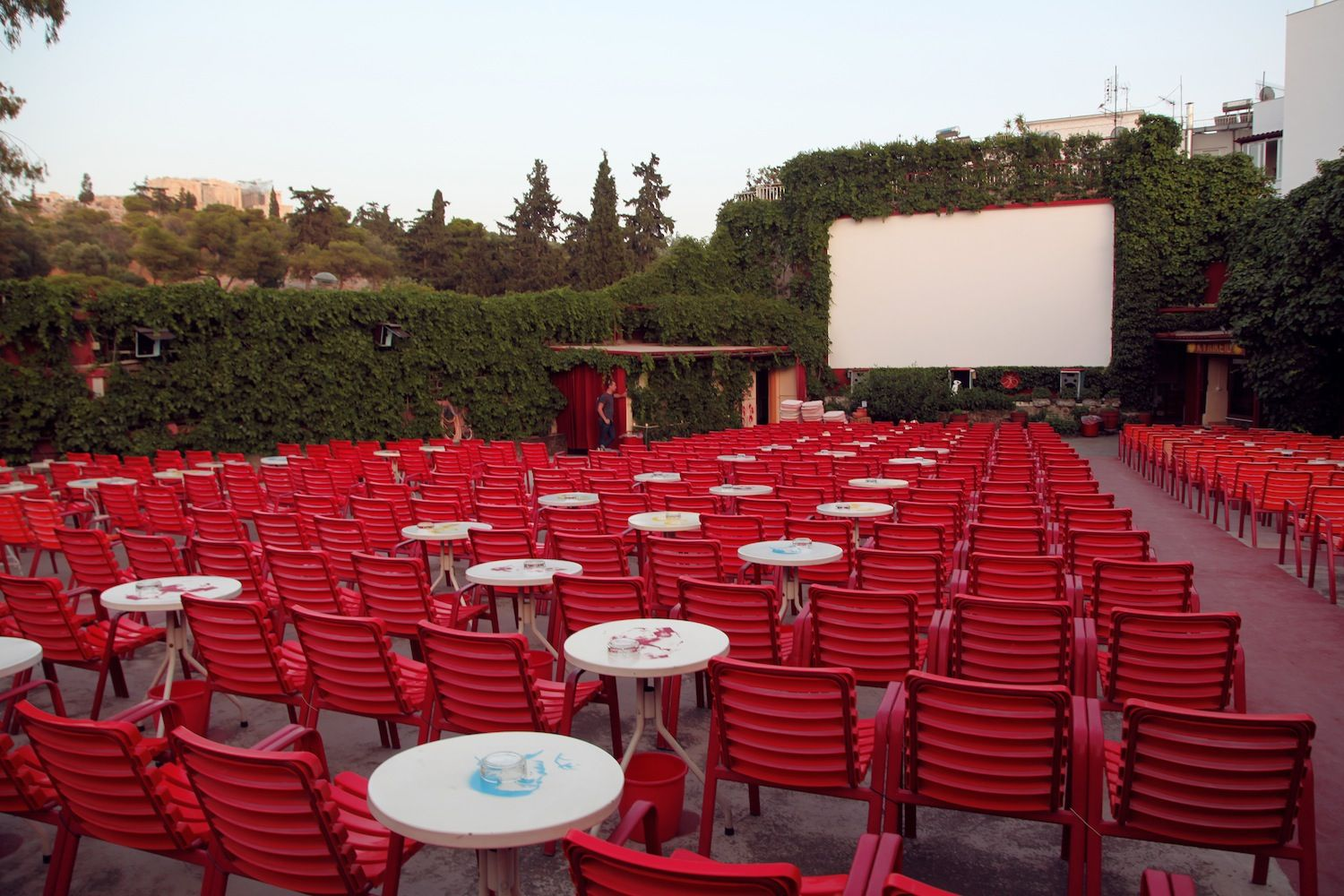 Thisseio openair cinema. With a direct view of the