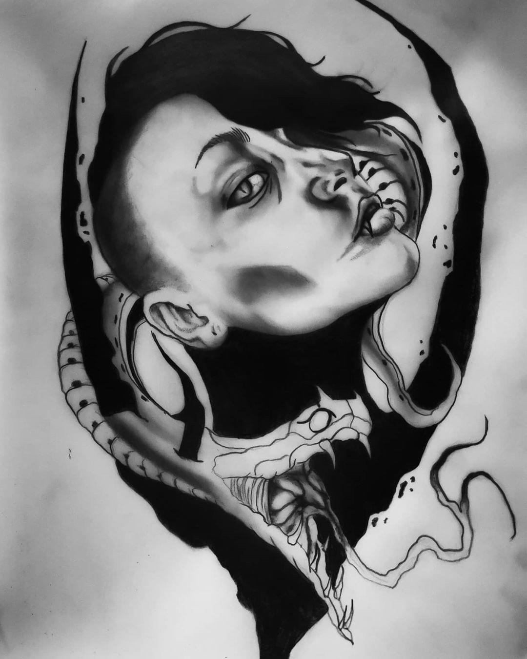 Viper ⬛☢️ . . . #black #blackwork #blackworker #blackworktattoo #blacktattooart #bl4ck #onlyblackwork #moreblack #moreblackink #blxckink #blxckwork #blkttt #arteobscurae #dark #onlythedarkest #darkworld #taot #tattooartist #tttism #inkmagazine #blacktattoo #artofdarkness ⬛☢️