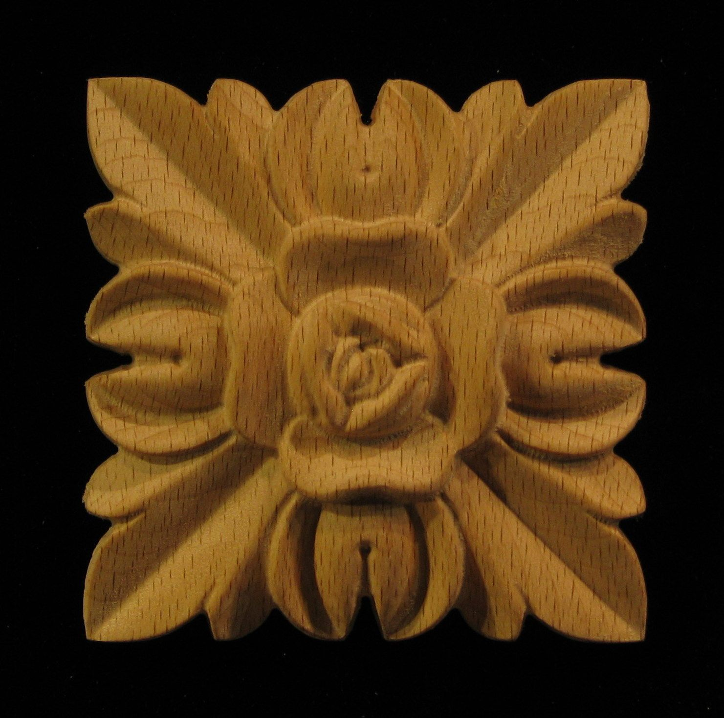 Wood Carved Rosette Rose Square Carving Designs Wood Rosettes Wood Carving Designs