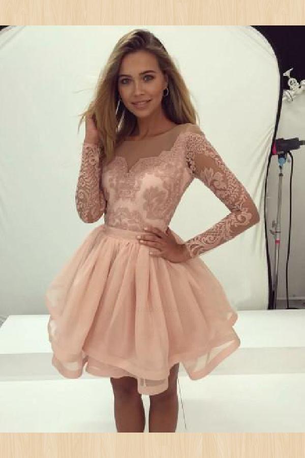 Great Short Homecoming Dress, Pink Homecoming Dress, Modest Prom Dress, A-Line Homecoming Dress – short dresses