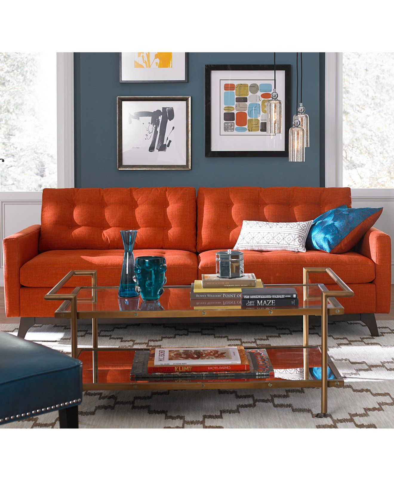 Karlie Fabric Sofa Ended Up Getting This One In A Custom Dark Blue Midnight Fa Living Room Orange Living Room Furniture Collections Modern Sofa Living Room