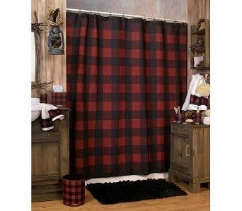 Woolrich Buffalo Check Red Black Plaid Shower Curtain