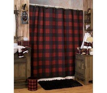 Woolrich Buffalo Check Red & Black Plaid Shower Curtain | Plaid ...