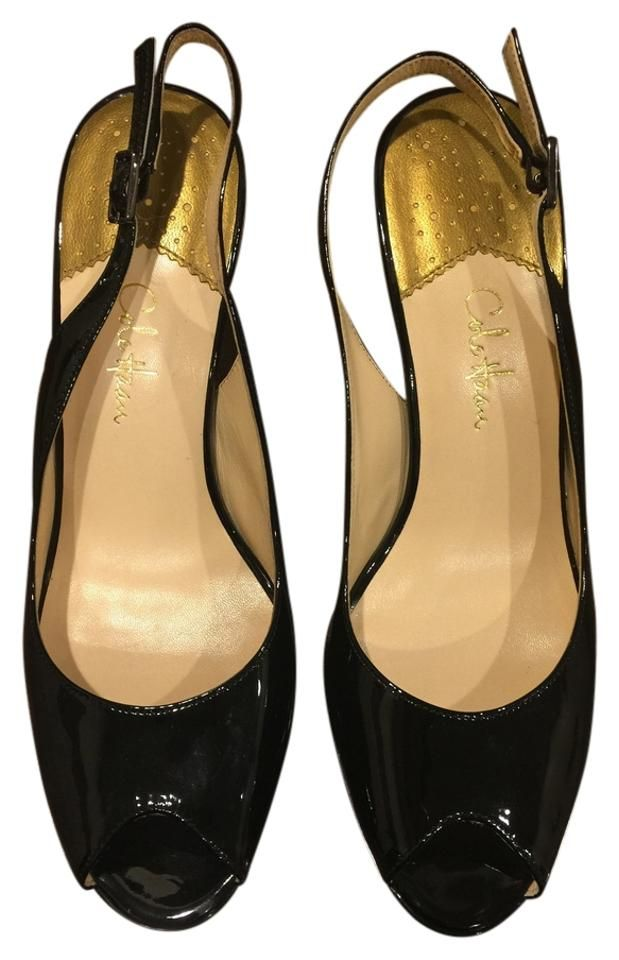 06e9c0459e73 Cole-Haan-Nike-Air-black-Patent-Leather-open-Toe-Slingback-Heels-size-6.5- Black-Pumps