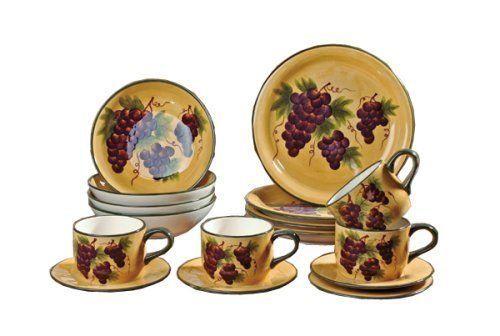 Dinnerware Set Tuscany Grape Wine 16 Piece Plates Bowls Mugs 4
