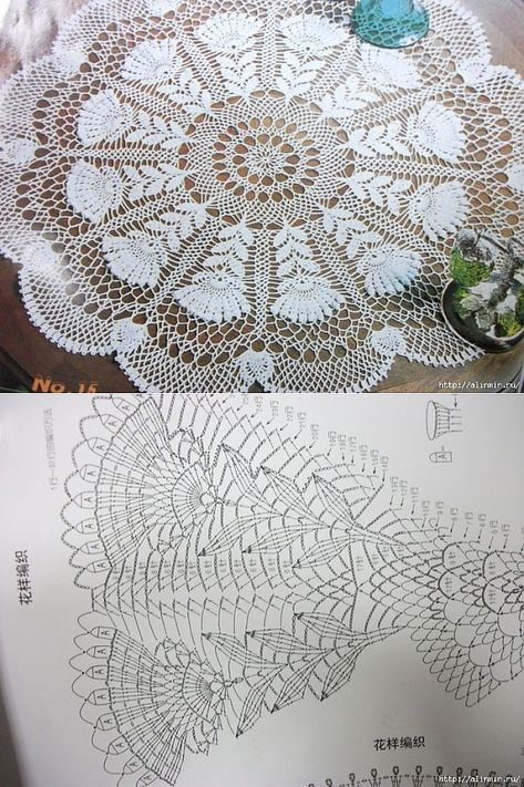 Kira scheme crochet: A zigzag napkin pineapple | Crochet Doilies ...