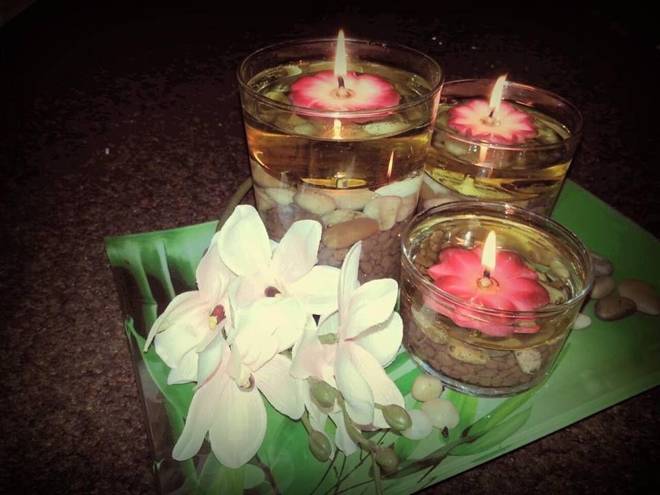 Kerzen Dekoration Mit Der Erfurter Feuerblume Einem Wiederverwendbaren Schwimmlicht Das Rapsol Verbrennt Der Docht Ist Ei Schwimmlichter Kerzen Deko Kerzen