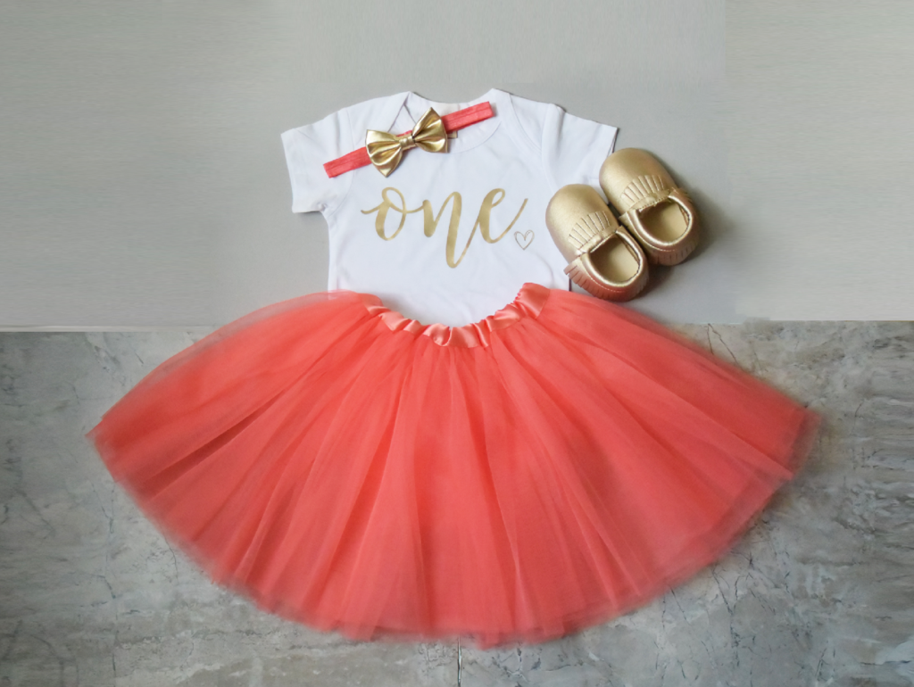 Coral Gold Tutu Girl First Birthday Outfit 413606daa