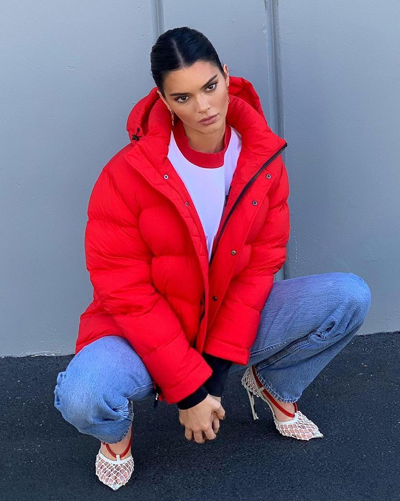 Kendall Jenner S Winter Jacket Comes In 28 Colors And Is Still Available Red Puffer Jacket Red Puffer Jenner Outfits [ 1024 x 819 Pixel ]