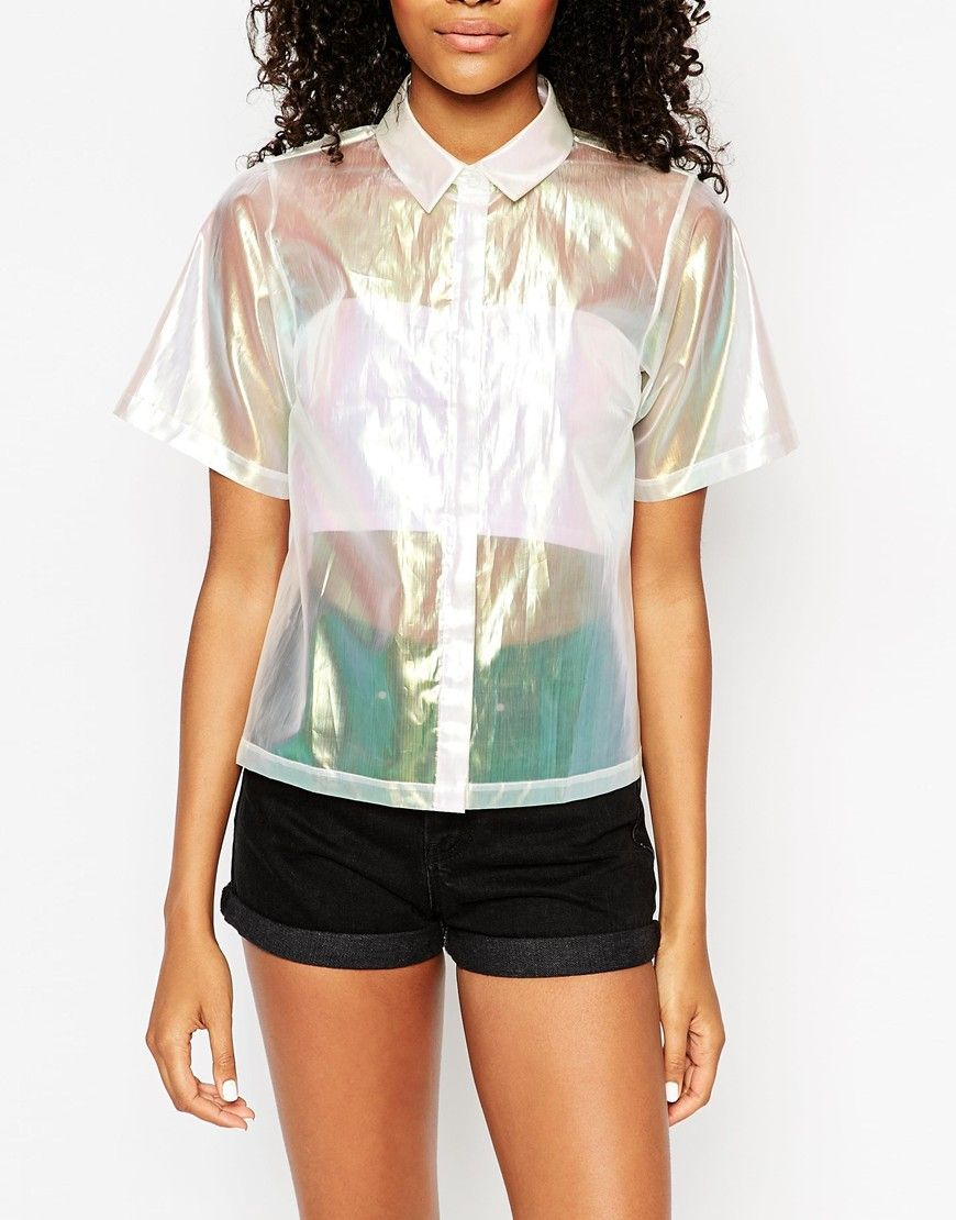 Image 3 ofASOS Boxy Iridescent Shirt