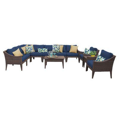Outdoor TK Classics Manhattan Wicker 11 Piece Patio Conversation Set with 2 Sets of Cushion Covers Navy / Cocoa - MANHATTAN-11A-NAVY