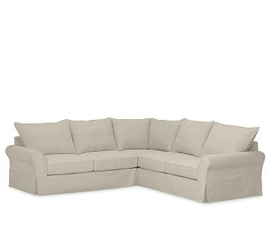 PB Comfort Roll Arm 3-Piece L-Shaped Sectional Slipcover, Knife Edge, Linen Blend Oatmeal