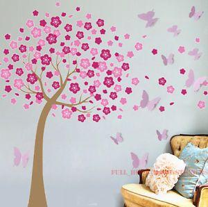 Huge D Butterflies Pink Cherry Blossom Tree Wall Stickers Art - Wall stickers for girlspink cherry blossom tree with birds wall stickers girls bedroom