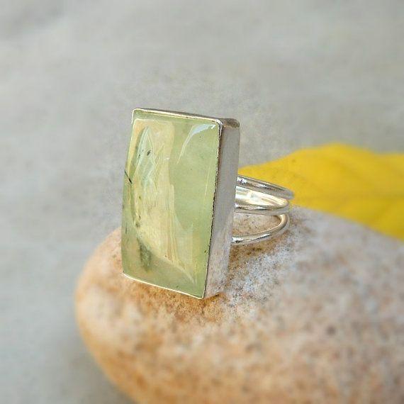Spring Jewelry  Prehnite Ring in Sterling by FineSilverStudio