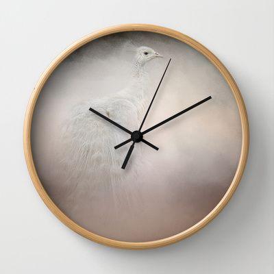 Purity - White Peacock - Wildlife  Wall Clock by Jai Johnson - $30.00