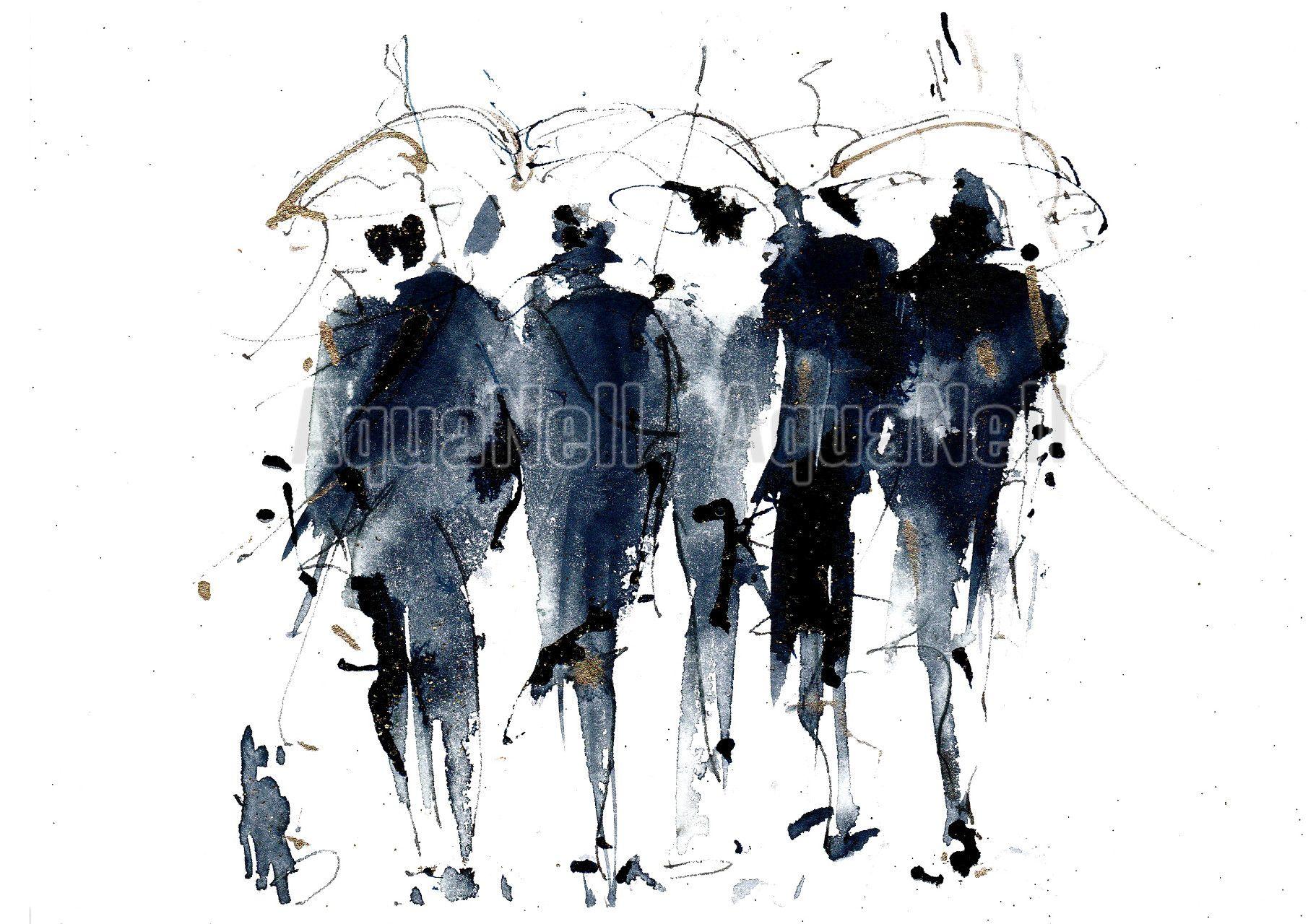 Peinture Illustration Aquarelle Pour Decoration Murale Parapluies