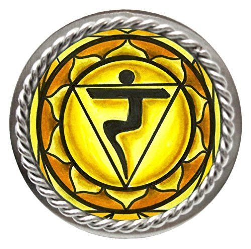 """3rd Chakra Yellow Manipura Intuition Adjustable 1"""" Stainless Steel Ring"""