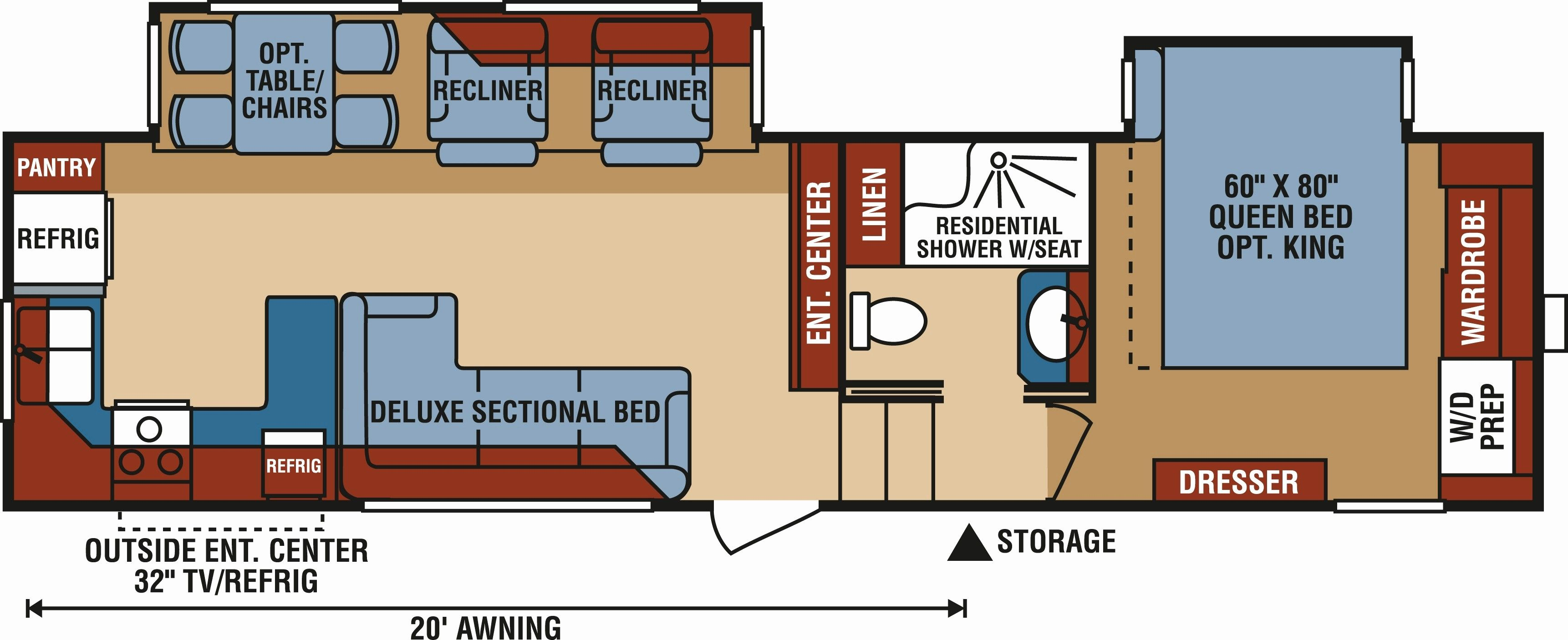 Travel Trailers With Rear Kitchen Floor Plans Google Search Rv Floor Plans Travel Trailer Van Conversion Layout