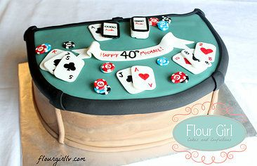 Blackjack Table Poker Flour Girl Las Vegas Specialty Wedding Cakes Vegan