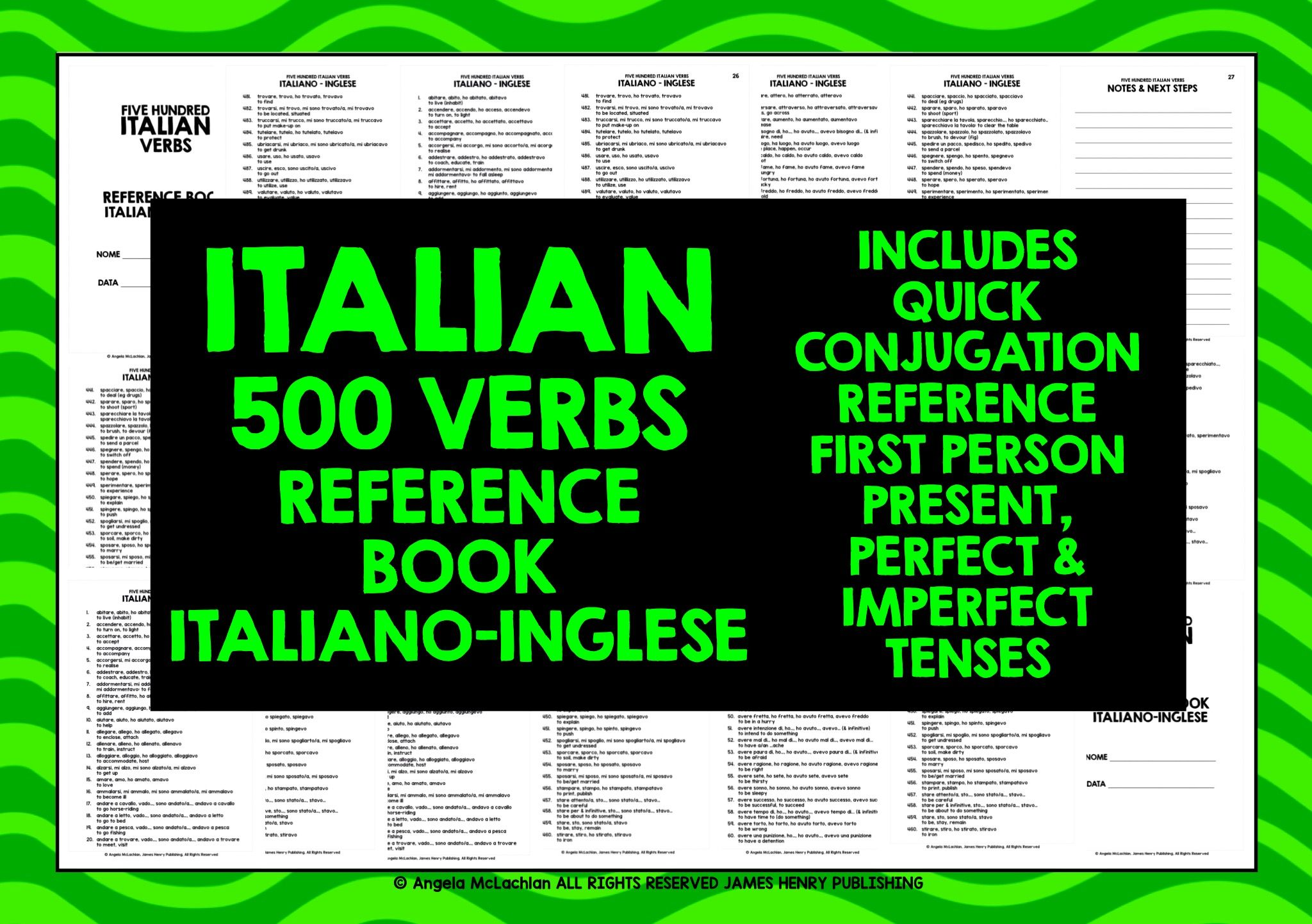 Italian Verbs Reference Book 1