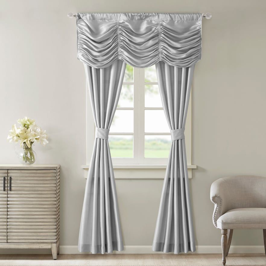 Madison Park Giselle Faux Silk 5 Piece Window Curtain Valance