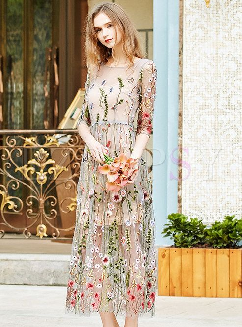6092844360 Shop for high quality Sweet Embroidered Mesh Slim Maxi Dress online at cheap  prices and discover fashion at Ezpopsy.com