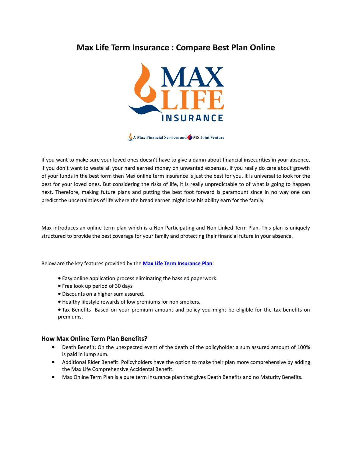 Max Life Term Insurance Plans Compare Online How To Plan Online Insurance Term Insurance