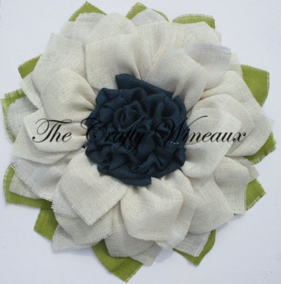 Burlap Daisy White Flower With Navy Blue Center Burlap Wreath