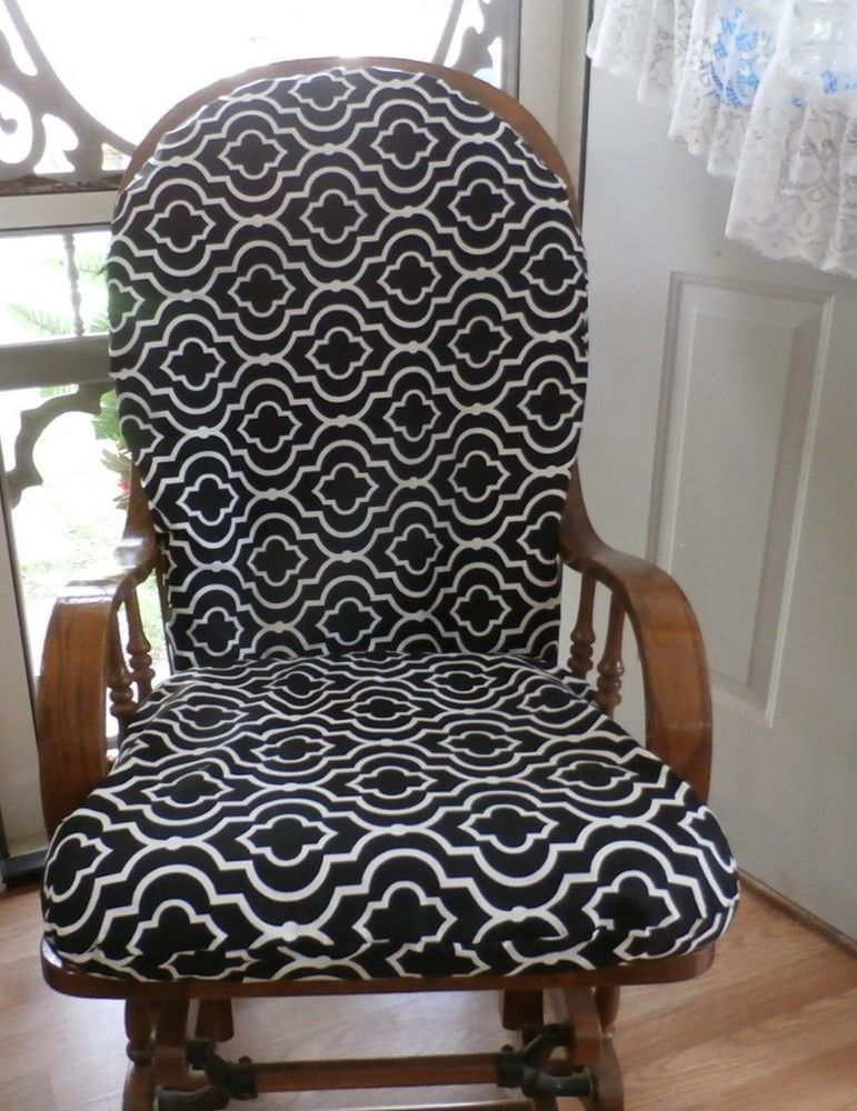 Glider Rocker Chair SlipCovers 4UR Cushions  Black U0026 White Designer Fabric  #handmade #slipcover