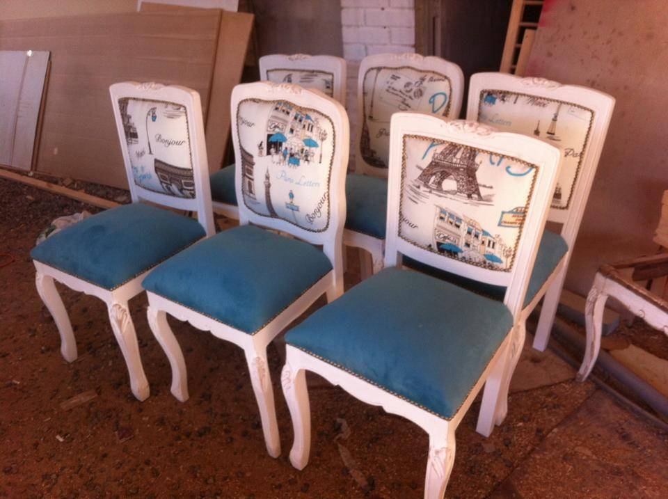 Sillas normando blancas respaldo tapizado comedores for Sillas blancas vintage