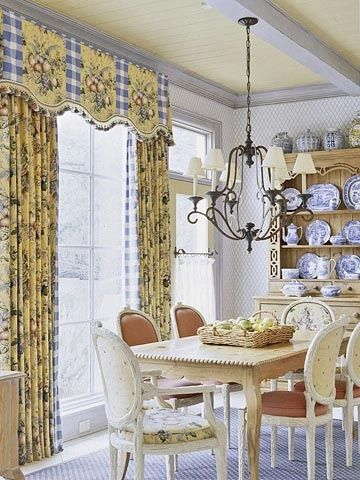 Toile Window Treatment Draperies And Shaped Pelmet Make A Definite Statement Without Overwhelming The Space