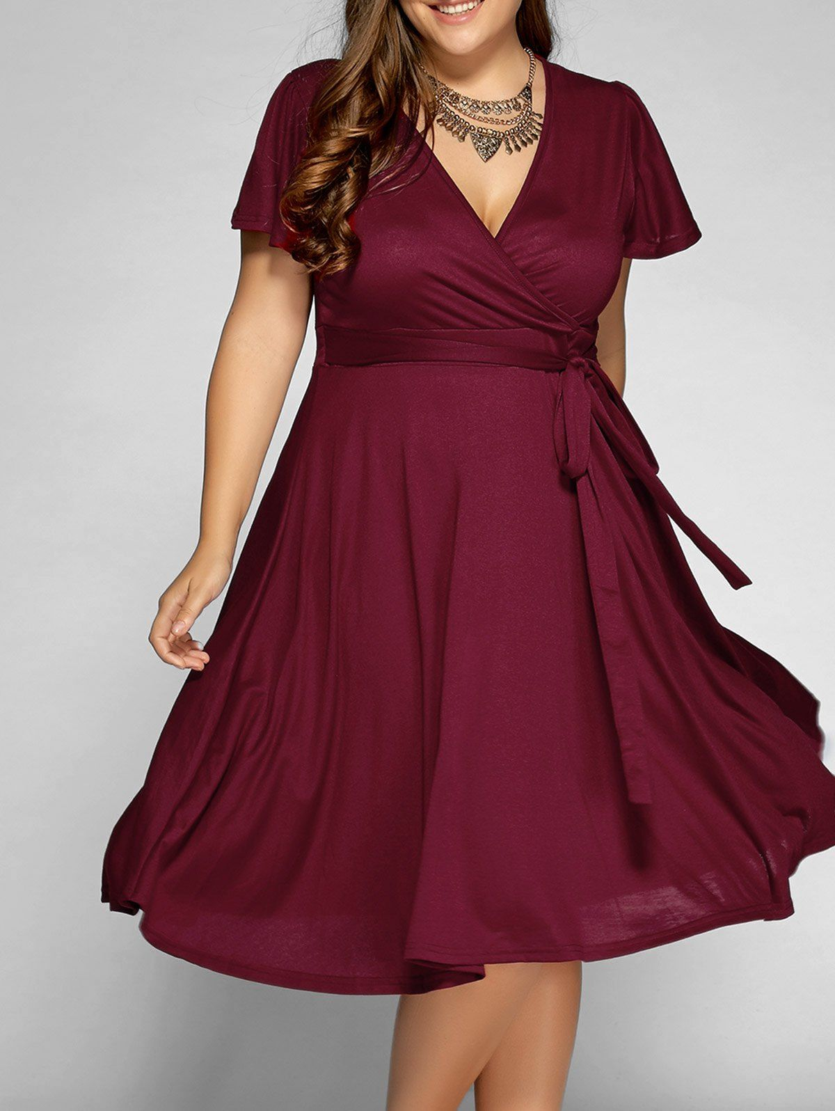 14.03 for Front Tie Swing Surplice Plus Size Dress in Wine Red ... d80518d46e3c