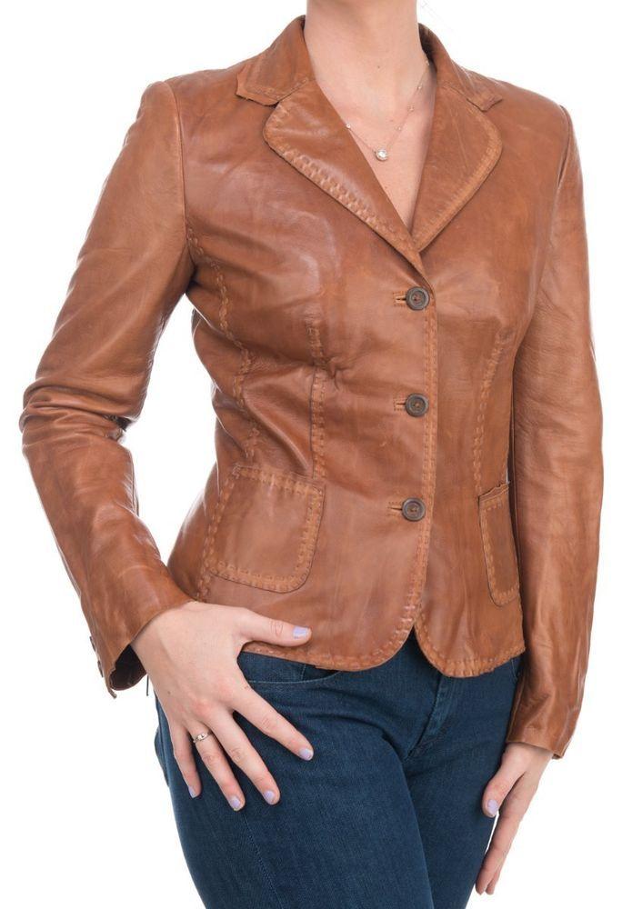Elie Tahari Womens Business Casual Brown Collared Leather Jacket Coat Size M #ElieTahari #BasicJacket