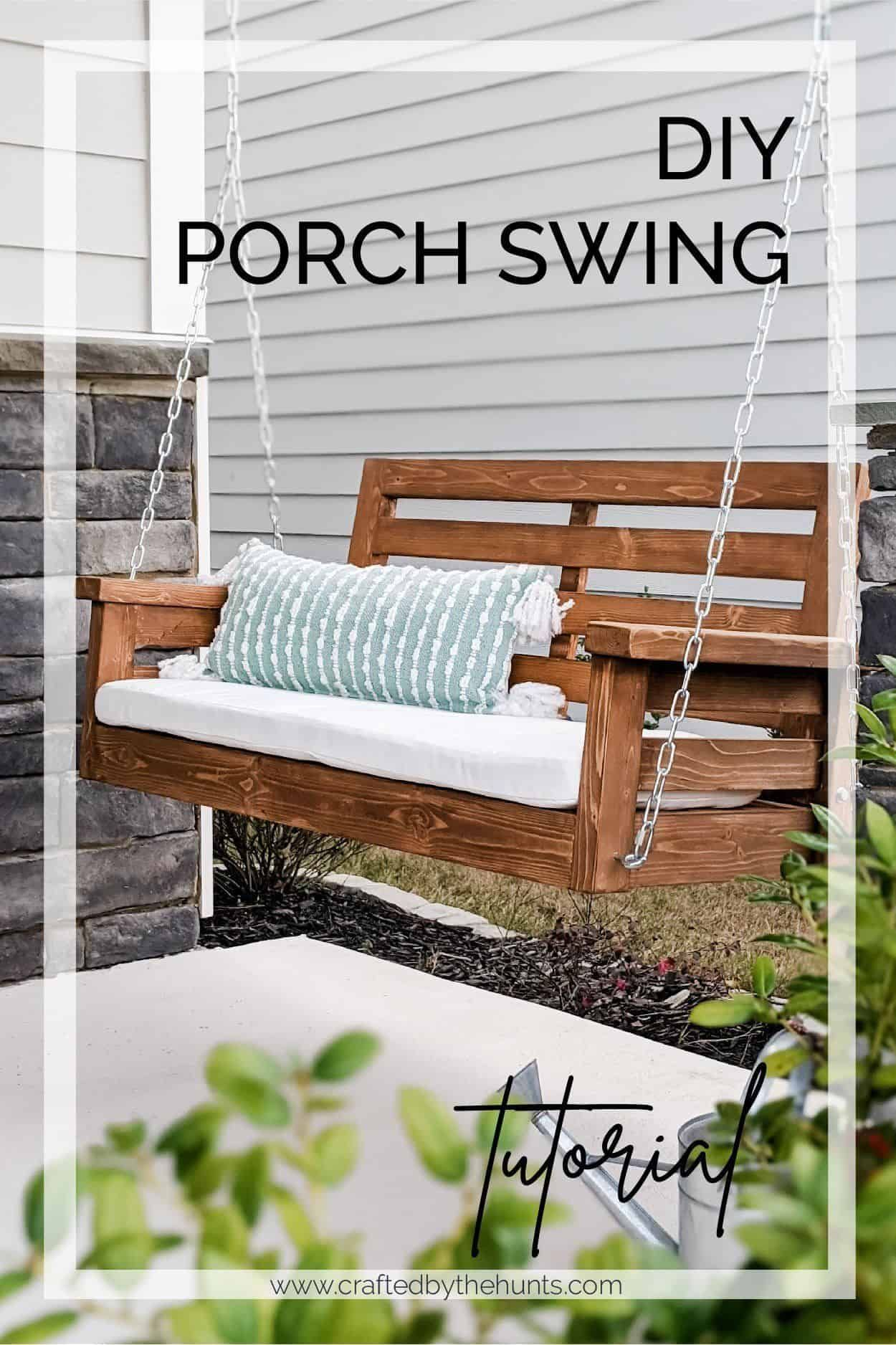 Diy Porch Swing Plans Crafted By The Hunts In 2020 Diy Porch Swing Plans Diy Porch Swing Porch Swing Plans