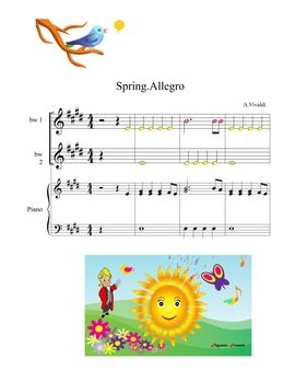 Easy and fun to play with only two notes: B AND E. In the original tune.You can play with my free video: https://www.teacherspayteachers.com/Product/LISTENING-MAP-VIDEO-SPRINGAVIVALDIallegro-2479653Or with the original music that compose Antonio Vivaldi, or you can play with two levels mp3 audio that are included.Enjoy