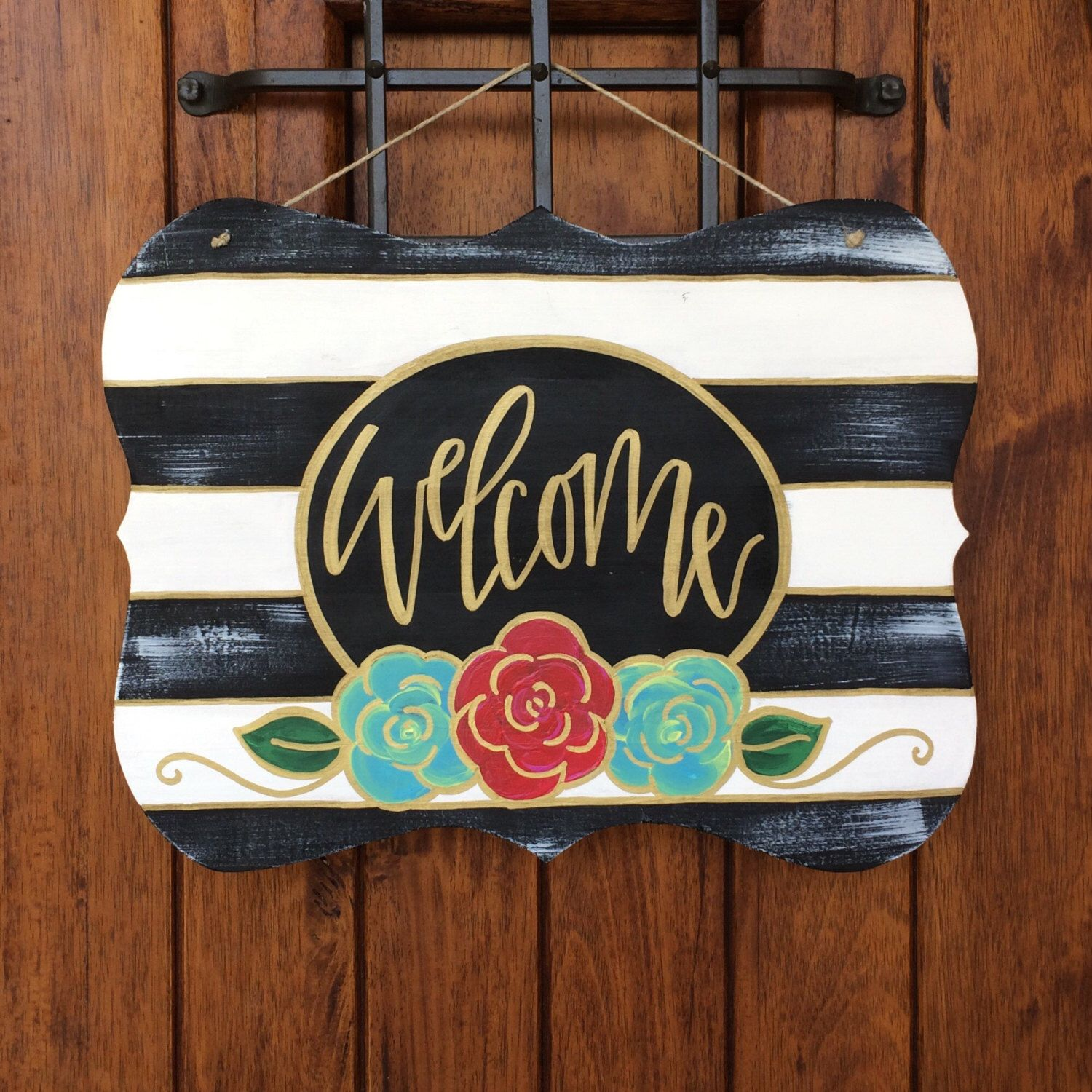 Welcome door hanger, hand painted door hanger, wooden door hanger ...