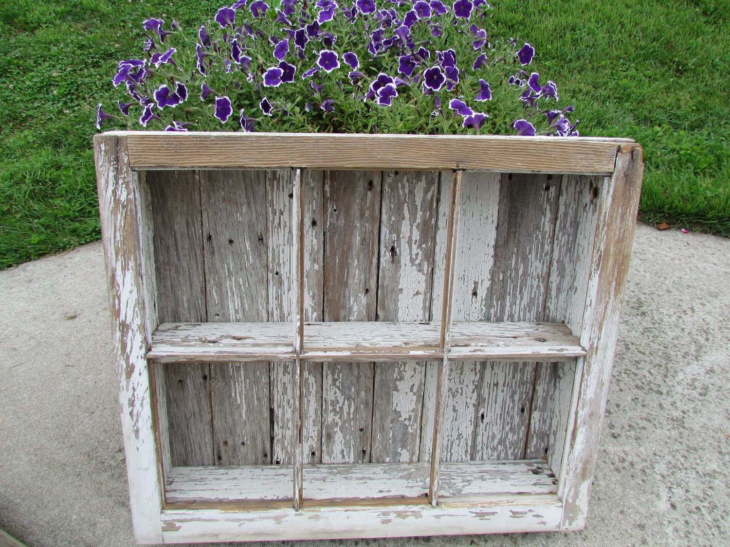 Country Painting On Old Windows | Old Distressed Barn Window Shelf by creativelychristel on Etsy