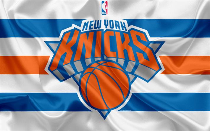 Download Wallpapers New York Knicks Basketball Club Nba Emblem Logo Usa National Basketball Association Silk Flag Basketball New York Usa Basketball L New York Knicks Nba Basquete