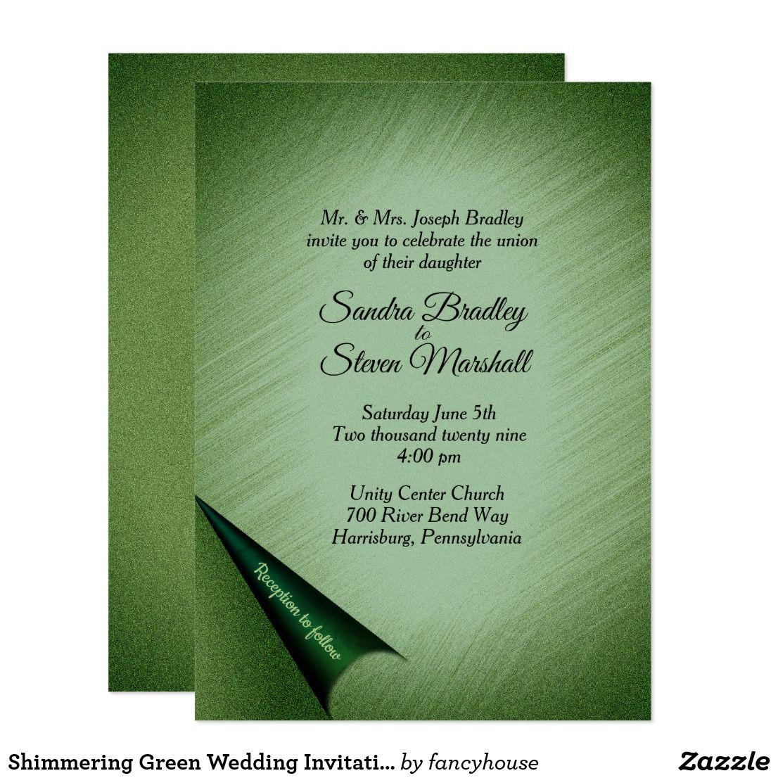 Shimmering Green Wedding Invitation Shimmering Green Wedding