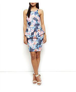 252dfe60957 Black Floral Print Peplum Dress