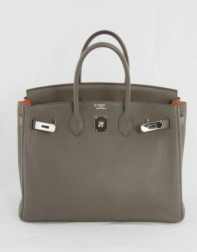 Authentic HERMES 35 CM Horseshoe Birkin Bag ETAIN ORANGE PHW baa88dd6fe191
